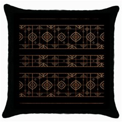 Dark Geometric Abstract Pattern Black Throw Pillow Case by dflcprints