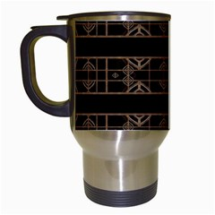 Dark Geometric Abstract Pattern Travel Mug (white) by dflcprints