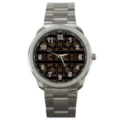Dark Geometric Abstract Pattern Sport Metal Watch by dflcprints