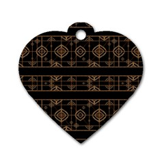 Dark Geometric Abstract Pattern Dog Tag Heart (one Sided)  by dflcprints