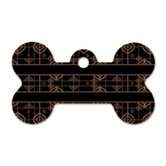 Dark Geometric Abstract Pattern Dog Tag Bone (one Sided) by dflcprints