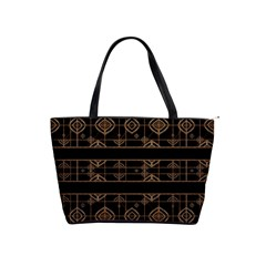 Dark Geometric Abstract Pattern Large Shoulder Bag by dflcprints