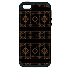 Dark Geometric Abstract Pattern Apple Iphone 5 Hardshell Case (pc+silicone) by dflcprints