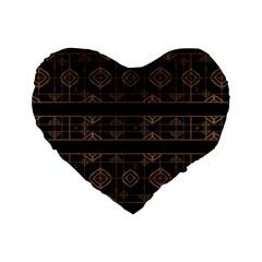 Dark Geometric Abstract Pattern 16  Premium Flano Heart Shape Cushion