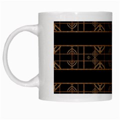 Dark Geometric Abstract Pattern White Coffee Mug by dflcprints