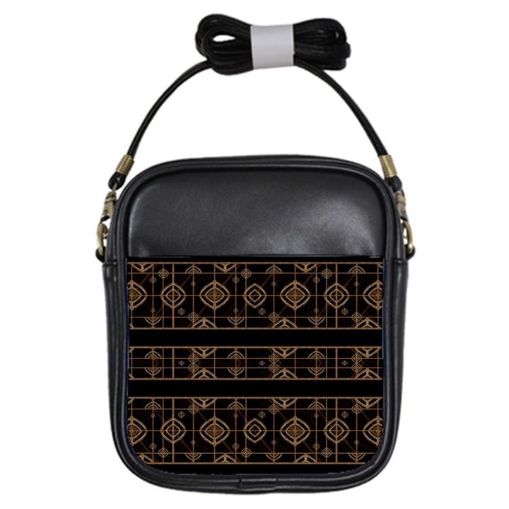 Dark Geometric Abstract Pattern Girl s Sling Bag