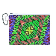 Zebra Print Abstract  Canvas Cosmetic Bag (large) by OCDesignss