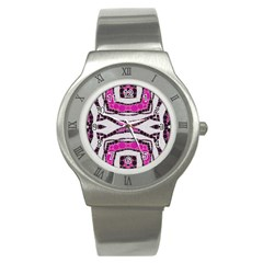 Pink Black Zebra  Stainless Steel Watch (slim) by OCDesignss