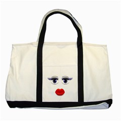Face With Blue Eyes Two Tone Tote Bag by cherestreasures