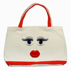 Face With Blue Eyes Classic Tote Bag (red) by cherestreasures