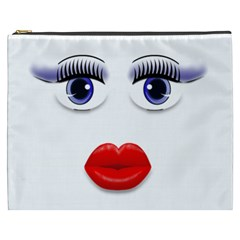 Face with Blue Eyes Cosmetic Bag (XXXL) by cherestreasures