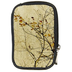 Nature Floral Print Collage In Warm Tones Compact Camera Leather Case by dflcprints
