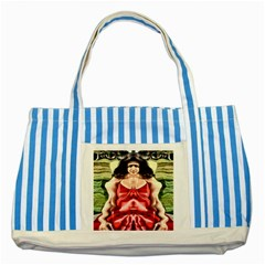Cubist Woman Blue Striped Tote Bag