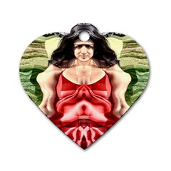 Cubist Woman Dog Tag Heart (two Sided) by icarusismartdesigns