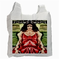 Cubist Woman White Reusable Bag (one Side) by icarusismartdesigns