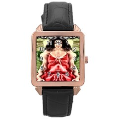 Cubist Woman Rose Gold Leather Watch  by icarusismartdesigns