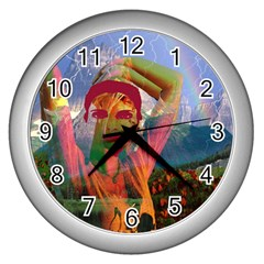 Fusion With The Landscape Wall Clock (silver) by icarusismartdesigns