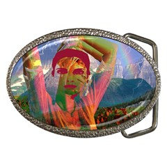 Fusion With The Landscape Belt Buckle (Oval) by icarusismartdesigns