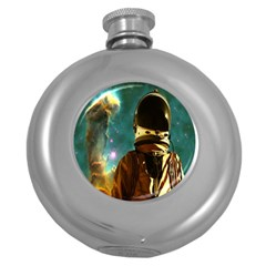 Lost In The Starmaker Hip Flask (round) by icarusismartdesigns