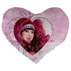 Love By Ki Ki   Large 19  Premium Flano Heart Shape Cushion   4xqt7cj4njtq   Www Artscow Com Front
