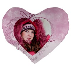 Love By Ki Ki   Large 19  Premium Flano Heart Shape Cushion   4xqt7cj4njtq   Www Artscow Com Back
