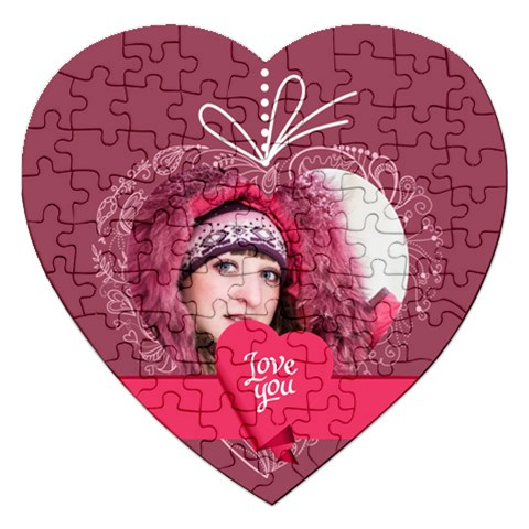 Love By Ki Ki   Jigsaw Puzzle (heart)   We82v7xnlahm   Www Artscow Com Front