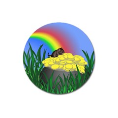 Pot Of Gold With Gerbil Magnet 3  (round) by designedwithtlc