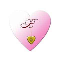 B Golden Rose Heart Locket Magnet (heart) by cherestreasures