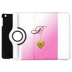 B Golden Rose Heart Locket Apple Ipad Mini Flip 360 Case by cherestreasures