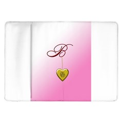 B Golden Rose Heart Locket Samsung Galaxy Tab 10.1  P7500 Flip Case