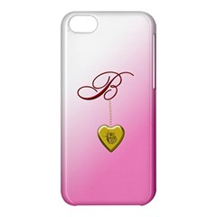 B Golden Rose Heart Locket Apple Iphone 5c Hardshell Case by cherestreasures