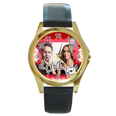 Love By Love   Round Gold Metal Watch   Fdhdqja4nbqx   Www Artscow Com Front