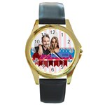 love - Round Gold Metal Watch