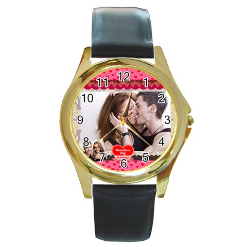Love By Love   Round Gold Metal Watch   Z8c6ce8hjvcp   Www Artscow Com Front