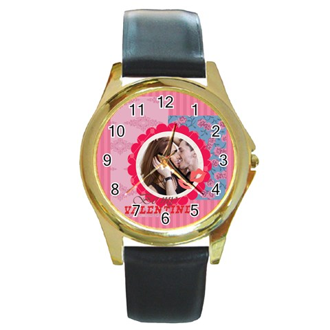 Love By Love   Round Gold Metal Watch   J3cbulpmz6sc   Www Artscow Com Front