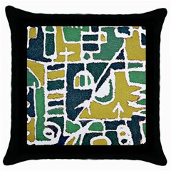 Colorful Tribal Abstract Pattern Black Throw Pillow Case by dflcprints