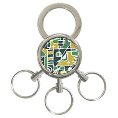 Colorful Tribal Abstract Pattern 3 Ring Key Chain by dflcprints