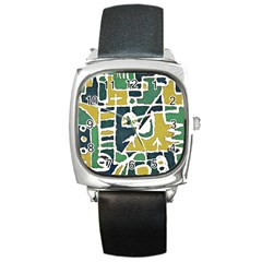 Colorful Tribal Abstract Pattern Square Leather Watch by dflcprints