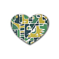 Colorful Tribal Abstract Pattern Drink Coasters (heart) by dflcprints
