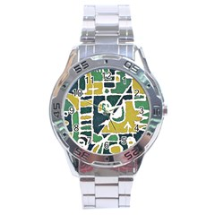Colorful Tribal Abstract Pattern Stainless Steel Watch by dflcprints