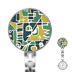 Colorful Tribal Abstract Pattern Stainless Steel Nurses Watch by dflcprints