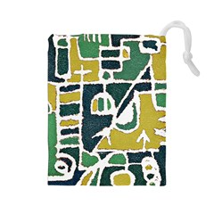 Colorful Tribal Abstract Pattern Drawstring Pouch (large) by dflcprints
