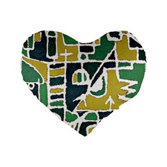 Colorful Tribal Abstract Pattern 16  Premium Flano Heart Shape Cushion  by dflcprints