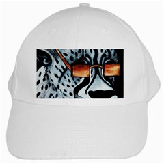 Cool Cat White Baseball Cap by JUNEIPER07