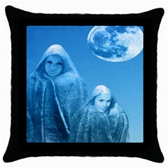 Full Moon Rising Black Throw Pillow Case by icarusismartdesigns