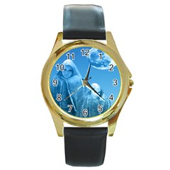 Full Moon Rising Round Leather Watch (gold Rim)  by icarusismartdesigns