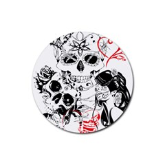 Skull Love Affair Drink Coasters 4 Pack (round) by vividaudacity