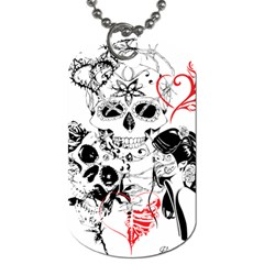 Skull Love Affair Dog Tag (One Sided) by vividaudacity