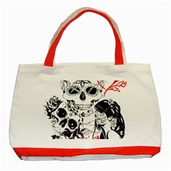 Skull Love Affair Classic Tote Bag (red) by vividaudacity