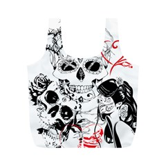 Skull Love Affair Reusable Bag (m) by vividaudacity